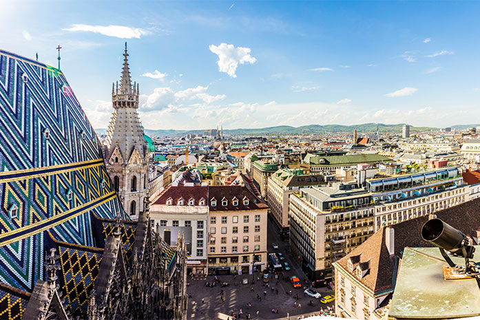 ARACON; consulting; Panoramic view of Vienna city on daytime in Austria